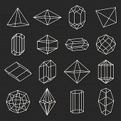 picture of gem  - Set of geometric crystals gem and minerals - JPG