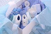 Постер, плакат: Its A Boy Blue Baby Shower Gift Box