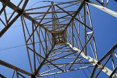pic of power transmission lines  - bottom view of the power line support - JPG