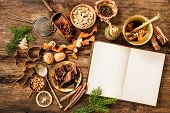 foto of christmas spices  - Baking concept background with cookbook - JPG