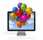 Multi Colored Balloons In A 3D Tv Screen