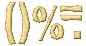 stock photo of punctuation marks  - Wooden punctuation marks set isolated on white background - JPG