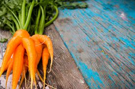 foto of dangling a carrot  - fresh carrot wet front view of a wooden background selective focus - JPG