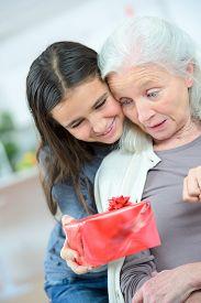 picture of grandma  - Giving grandma a gift - JPG