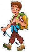 Trekking boy.  Funny vector and cartoon isolated character.