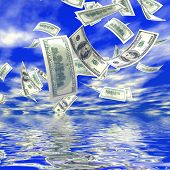 3d money falling in the sky background