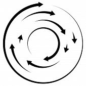 Circular Concentric Arrows. Cyclic, Cycle Arrows. Arrow Element To Illustrate Ripple, Swirl, Twirl C poster
