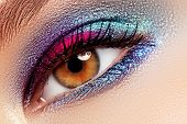 Beauty, Cosmetics And Makeup. Magic Eyes Look With Creative Eye Makeup. Macro Shot Of Beautiful Woma poster