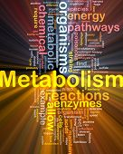 Background concept wordcloud illustration of Metabolism metabolic  glowing light