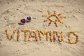 Sunglasses, Inscription Vitamin D And Shape Of Sun On Sand At Beach, Summer Time And Healthy Lifesty poster