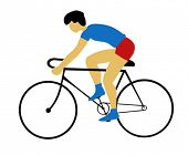 vector silhouette bicyclist on white background