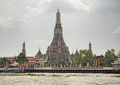 Wat Arun, The Temple of Dawn  view from Tha Tien. Bangkok, Thailand