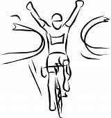 triumphant cyclist