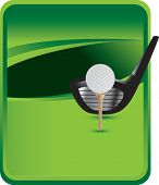 golf on tee with club on classic green background