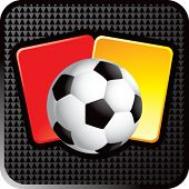 soccer ball and penalty cards on web button