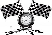 racing checkered flags and speedometer on oil