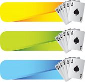 stock photo of playing card  - royal flush playing cards on colored tabs - JPG