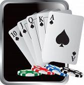 escalera real jugando a las cartas y poker chips plata marco