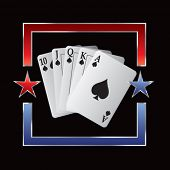 royal flush playing card on star background