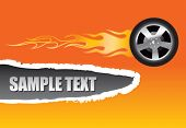 flaming tire on ripped banner