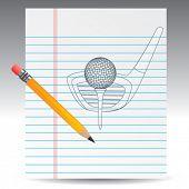 bola de golfe no tee com clube de golfe em papel de caderno com lápis