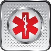 caduceus medical symbol on white halftone web button