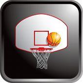 Постер, плакат: баскетбол спинодержатель и обручем на черном веб кнопку
