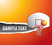 Постер, плакат: баскетбольное кольцо и спинодержатель на разорвал оранжевый баннер