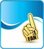 number one fan foam hand on blue wave background