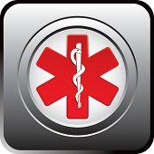 caduceus medical symbol on black reflective web button