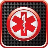 caduceus medical symbol on glossy web button
