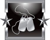 Tag de cão no fundo da estrela de prata