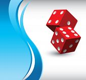 red dice on vertical wave background