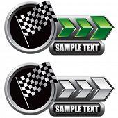 racing checkered flag on shiny arrow banners