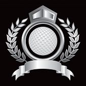 golf ball on royal floral crest