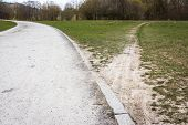 Diverging Path Sidewalk Dirth Path Grass Outdoors Decision Road Less Traveled poster