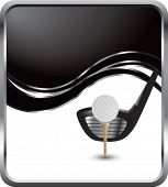 golf ball and driver on black wave backdrop