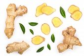 Fresh Ginger Root And Slice Isolated On White Background. Top View. Flat Lay poster