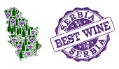 Vector Collage Of Grape Wine Map Of Serbia And Grunge Seal For Best Wine. Map Of Serbia Collage Comp poster