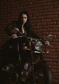 Adventure. Having Adventure On Motorbike. Woman Travel With Adventure. Adventure Concept poster