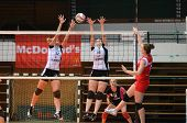 KAPOSVAR, HUNGARY - NOVEMBER 25: Zsanett Pinter (R) in action at the Hungarian Championship volleyba