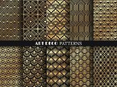 Art Deco Pattern. Golden Minimalism Lines, Vintage Geometric Arts And Deco Line Ornate Seamless Patt poster