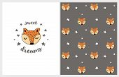 Cute Hand Drawn Abstract Fox Vector Illustration And Pattern. Lovely Sweet Dreams Nursery Art On A W poster