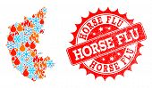 Composition Of Winter And Flame Map Of Karnataka State And Horse Flu Grunge Stamp Seal. Mosaic Vecto poster