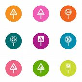 Sign Path Icons Set. Flat Set Of 9 Sign Path Icons For Web Isolated On White Background poster