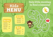 Kids Food Menu Design Template With Cute Character - Monkey On Green  Jungle Rainforest Background.  poster