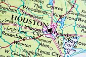 Houston on a map closeup