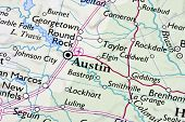Austin ,Texas on a map