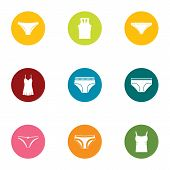 Erotic Lingerie Icons Set. Flat Set Of 9 Erotic Lingerie Icons For Web Isolated On White Background poster