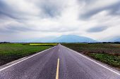 A Straight Road Leading Into The Distance. This Image Was Taken In A Countryside Of Taiwan. A Straig poster
